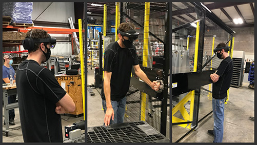 Dyco engineer uses a VR headset to conduct a virtual FAT.